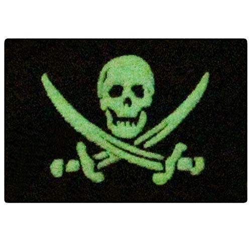 Glow in Dark Pirate Flag Military Morale Applique Fastener Hook & Loop Patch -