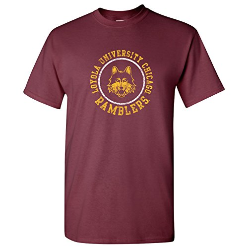 UGP Campus Apparel AS04 - Loyola University Chicago Ramblers Distressed Circle Logo T-Shirt - Medium - Maroon