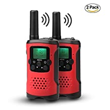 Walkie Talkie, PESTORY 22 Channel FRS/GMRS Two Way Radios for Kids, Long Range up to 3.7 Miles 1 Pair (Red #3)
