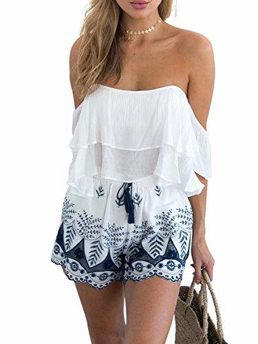 コイル徹底的にいちゃつくSimpleeアパレルレディースBoho刺繍タッセル巾着綿ビーチショーツ