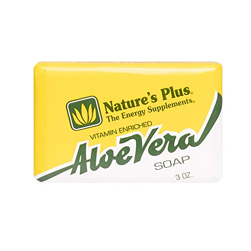 Natures Plus Aloe Vera Soap - 3 oz. All Natural Glycerin Bar Soap, Enhanced with 1,000 IU Vitamin E, 1000 IU Vitamin A * 100 IU Vitamin D - Tangy Lemon Fragrance