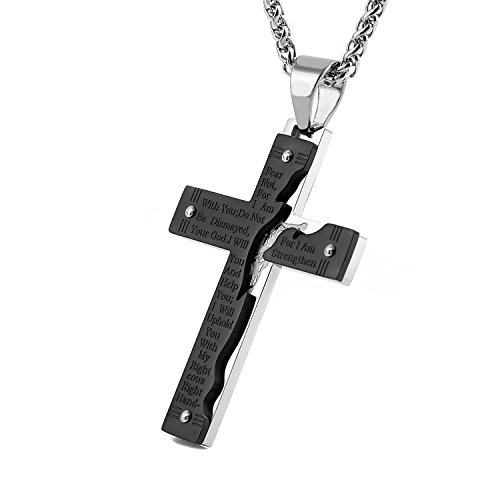 HZMAN Men's Stainless Steel Jesus Christ Crucifix Cross Lord's Prayer Pendant Necklace (Black)