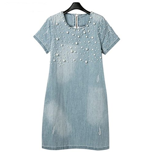 WoooInn Jeans Summer Casual Fashion Vestidos Cotton Dresses Women Plus Size at Amazon Womens Clothing store: