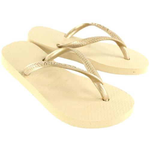 Unisex Enfants Havaianas Slim Eté Tongs Plage Sandale Tailles Gris Sable/ Light Or