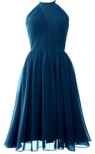 MACloth Women Halter Chiffon Cocktail Dress Short Bridesmaid Gown with Open Back Teal fk9WAi