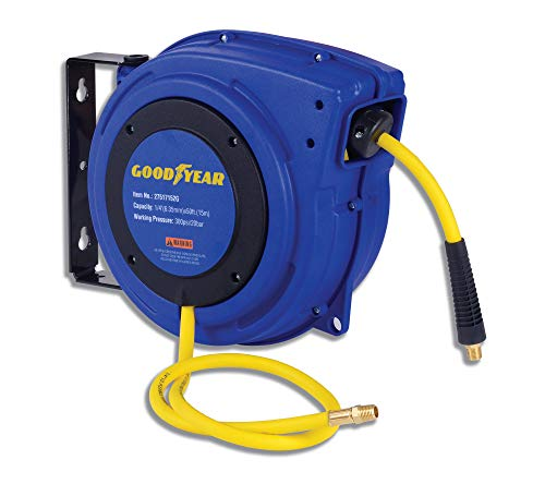 "GOODYEAR Air Hose Reel 1/4""x50FT Heavy Duty Retractable Air Compressor Max. 300PSI (1/4"" x 50 FT)"