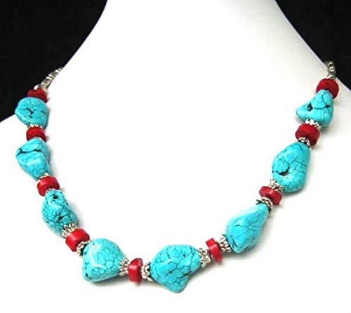 - Calvas xiuli 000830 Tibet Style Tibetan Silver Stunning Red Coral Beads Necklace 18 inches