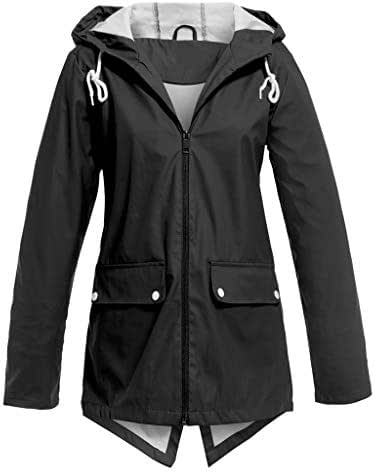 Coat for Women Winter Elegant Casual Solid Jacket Outdoor Plus Size Hooded Windproof Loose Coat with Pockets