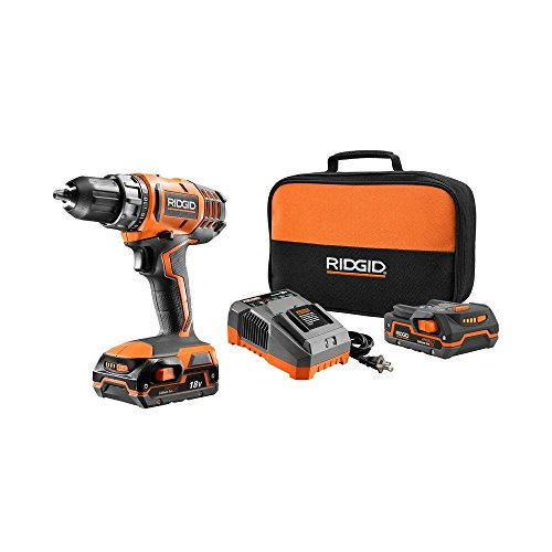 Ridgid R860052K 18 Volt 500 Lbs. Torque 1,500 RPM Hyper Lithium Ion Cordless Drill / Driver Kit (Certified Refurbished)