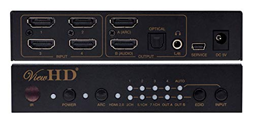 Buy Cheap ViewHD Prosumer UHD HDMI 4X1 Switch with Audio Extraction | 18Gbps | 4K@60Hz | Dolby Visio...