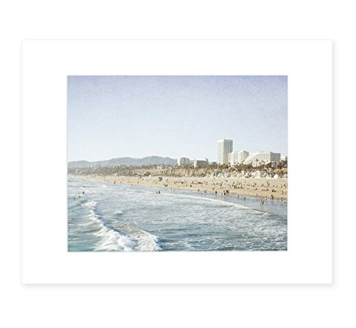 Santa Monica Wall Art, California Coastal Beach Decor, 8x10 Matted Photographic Print (fits 11x14 frame), 'Santa Monica Seaside' by Offley Green