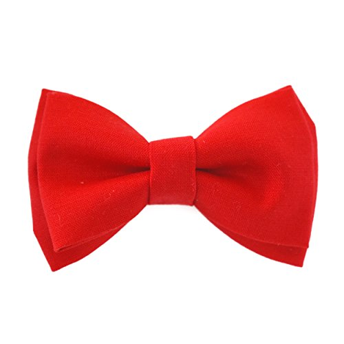 Red Bow Tie Clip On Fits Baby Toddler Boy Handmade Boys Bow Tie(One Size Fits All)