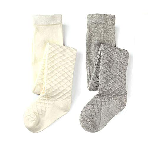 (School Kids Girls Cotton Knit Tights Waffles Pattern (White Grey, 2-3y Height 33