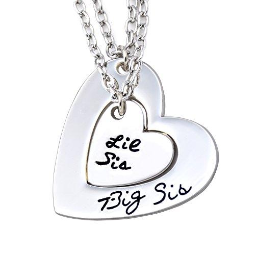 - O.RIYA Big Sis Lil Sis Necklaces Set for 2 ,2pcs/set Silver Tone Big Sis Lil Sis Little Sister Bff Best Friends Forever Detachable Heart Broken Heart Necklace Set