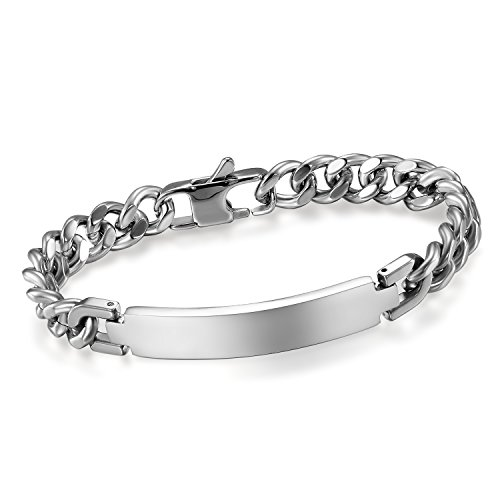 (Cupimatch Men's 9MM Wide Stainless Steel ID Tag Bracelet Chain Link Wrist Bangle, 8.3
