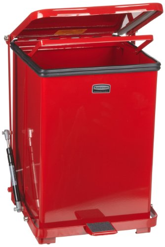 Rubbermaid Commercial FGQST40ERBRD The Silent Defenders Steel Step Trash Can, Square with Retaining Band, 40-gallon, Red ()