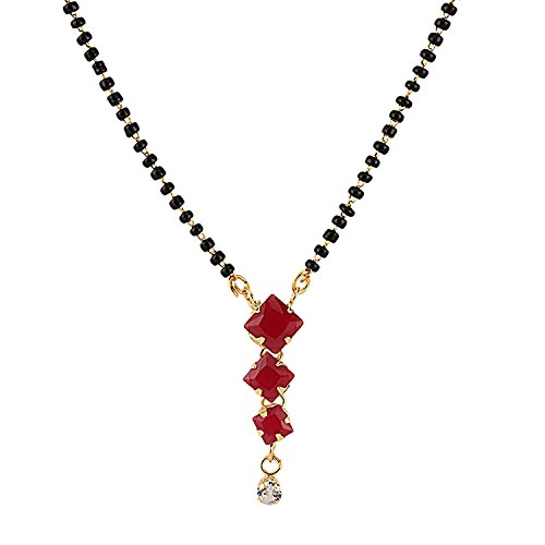 Efulgenz Indian Bollywood Traditional Gold Plated American Diamond CZ Mangalsutra Pendant Necklace Jewelry for Women (3 Square) ()