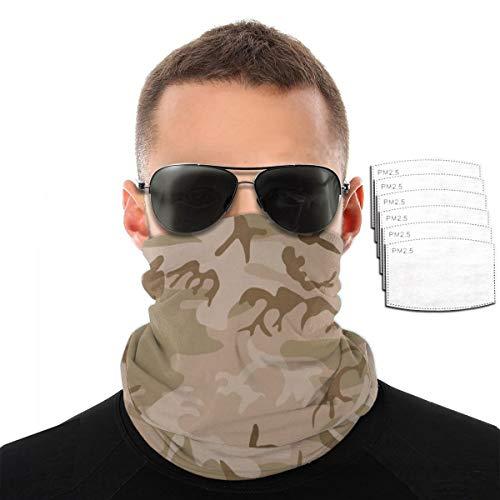 Modern Tan Green Desert Military Camo Camouflage Unisex Microfiber Face Mask Headband Bandana Head Wrap Scarf Neck… 1