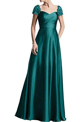 Brautmutterkleider Dunkel Marie Gruen Braut La Partykleider Kurzarm Abendkleider Burgundy Spitze Satin O0nTFnzx