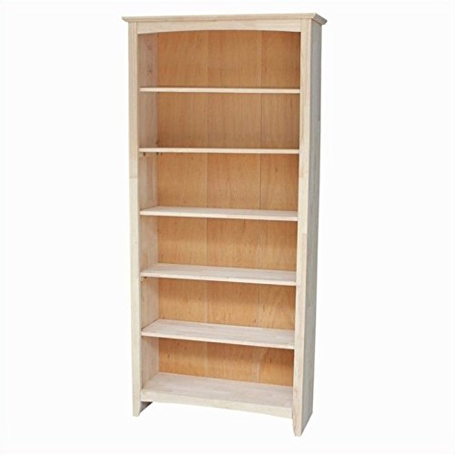 International Concepts Shaker Bookcase, 72-Inch, Unfinished