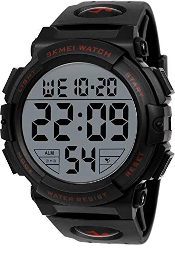 Skmei 1258 Men #39;s Chronograph Digital Watch with Big Dial, 50M Waterproof, LED  Red