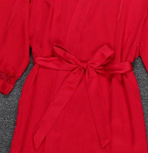 Pad petto notte BOBOJW vestaglia da set camicia x Champagne rilassante Red pigiama large per zqwpH8