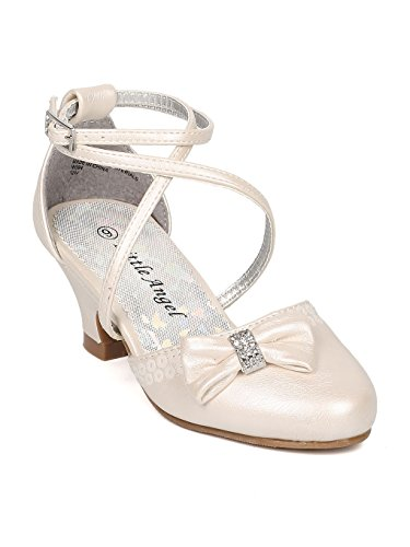 Girls Leatherette Bow Tie Ankle Strap Dress Heel HJ51 - Ivory Leatherette (Size: Little Kid 13) - Ankle Tie Pump