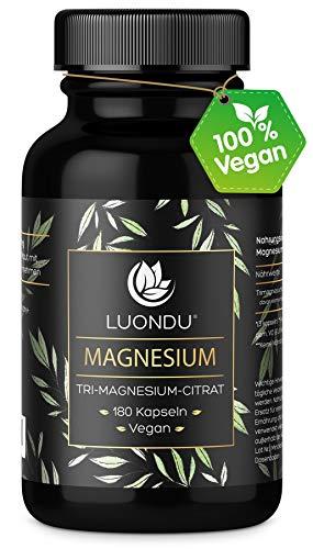 Luondu Magnesiumcitrat 180 Kapseln hochdosiert - 2250mg davon 360mg elementares Premium Magnesium pro Tagesdosis I Magnesium Citrat Vegan ohne Zusatzstoffe hergestellt in DE