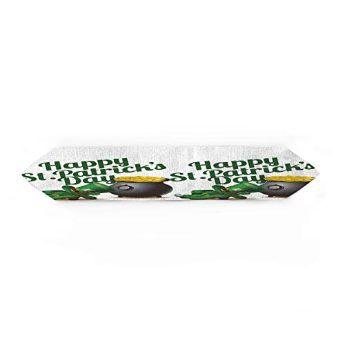 Cloud Dream Home St.Patrick's Day Table Runner for Morden Greenery Garden Wedding Party Table Setting Decorations and Shoes Hat 14x72inch