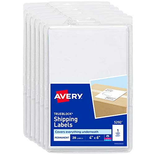 4 X 6 Inkjet - Avery Shipping Labels for Laser Printers, TrueBlock Technology, Permanent Adhesive, 4