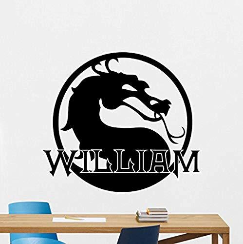 Custom Name Mortal Kombat Wall Decal Personalized Logo Dragon Emblem Movie Superhero Stencil Poster Comics Vinyl Sticker Movie Wall Art Kids Teen Boy Room Bedroom Wall Decor Mural 165RT (MK 4 Font) (Mortal Kombat Movie Poster)