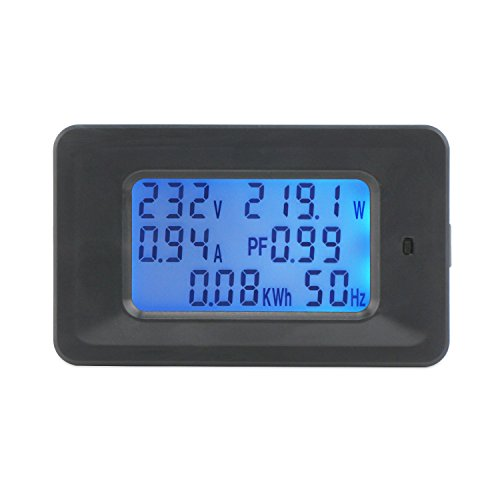 DROK Digital Multimeter AC 50-300V 20A Voltmeter Ammeter Amperage Voltage Power Factor Energy Frequency Meter Volt Amp Watt Power Gauge Monitor LCD Display Blue Backlight with Built-in Current Shunt