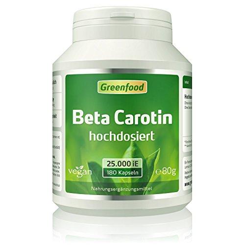 Greenfood Beta Carotin, 25000 iE, extra hochdosiert, 180 Vegi-Kapseln – Vorstufe von Vitamin A (Bräune, Hautschutz, Sehschärfe Immunsystem). OHNE künstliche Zusätze. Ohne Gentechnik. Vegan.