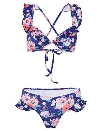 (MARINAVIDA Swimsuits for Women Sexy V Neck Ruffles Flounce Bikini Top with Low Waist Bottom Two Piece Bikini Sets)