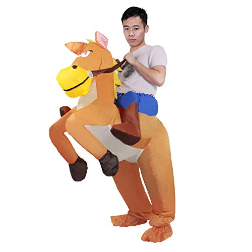 MH ZONE Inflatable Horse Costumes for Adult, Adult Halloween Costumes Inflatable Horse Rider Suit Halloween Cosplay Funny Costume(Two Types of Inflatable Costume Fan)]()