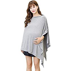 Nursing Cover Shawl Breastfeeding Cover Scarf Maternity Pregnancy Poncho Top for Breastfeeding and Baby Car Seat Cover Adjustable Buttons Design Breathable Bamboo 360° Suitable for All Seasons
