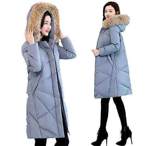 In Lungo Donna Invernale piumino Giacca Collo Cappotto Caldo Femminile Giù Di Shirloy Imbottitura Spessa Azzurro Pelliccia Vera Cotone 7wX4HqX