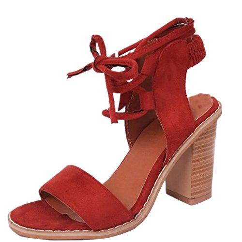 Elevin (tm) Dames Lente Zomer Mode Bandjes Hoge Hakken Peep Toe Schoenen Sandalen Schoenen Wijn