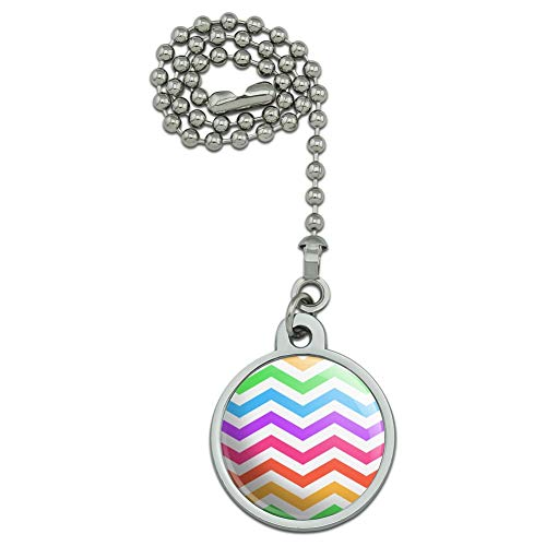 GRAPHICS & MORE Rainbow Chevrons Zigzag Pattern Ceiling Fan and Light Pull Chain