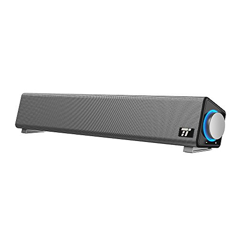 TaoTronics Computer Speakers, Wired Computer Sound Bar, Stereo USB Powered Mini Soundbar Speaker for PC Cellphone Tablets Desktop Laptop (Sound Bar For Laptop)