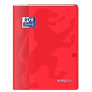 Oxford 400100049 easybook – Cuaderno grapado, 24 x 32 cm, 96 páginas, 90 g grandes, cuadriculadas, rojo