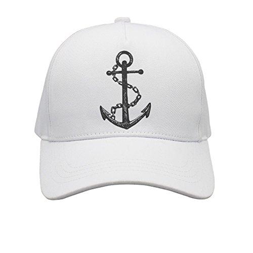 Anchor White Chain Cap (Cap Anchor Iron Chain Tattoo Pirate Ship Unisex Cap Cute Stylish Casual Simple Funny Personality Fashion Travel Essential)