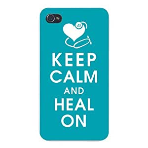 Apple Iphone Custom Case 4 4s White Plastic Snap on - Keep Calm and Heal On w/ Heart & Stethoscope