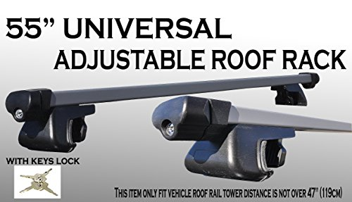 One Set 55 inch 135cm Aluminum roof rack top rail cross bars cargo carrier w/ keys locks (Trailblazer Roof Rack compare prices)