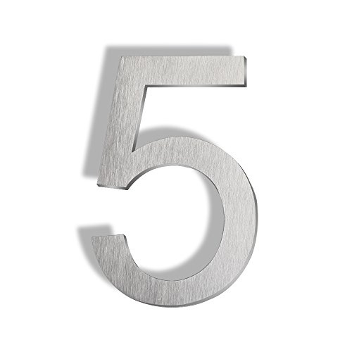 - Mellewell Floating Mount House Numbers 5 inch, Stainless Steel Brushed Nickel, Number 5 Five