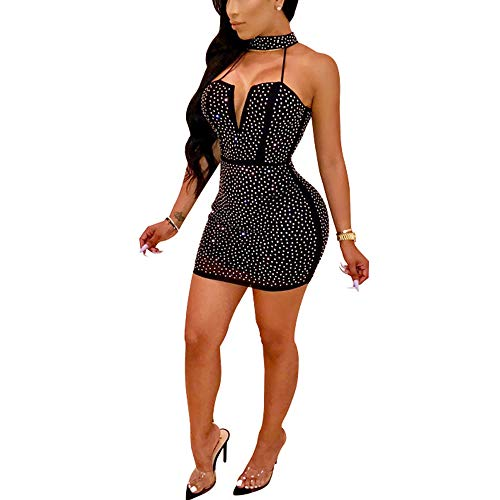 (Acelitly Womens Sexy See Through Sheer Mesh Halter Neck Hollow Out Sleeveless Rhiestone Glitter Mini Dress Party Club Black S )