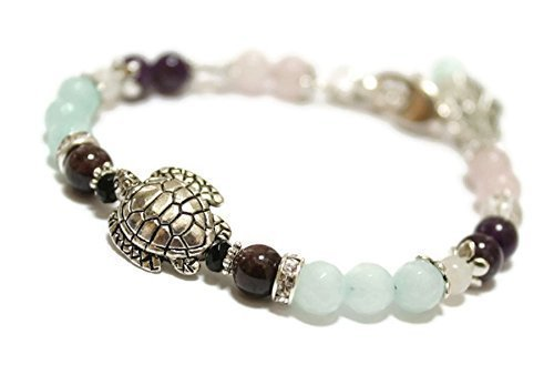 READY to SHIP / Fertile Turtle Fertility and Pregnancy Bracelet Featuring Natural Gemstones Rose Quartz, Amethyst, Rock Crystal,Garnet, Black Onyx, Moonstone, Amazonite