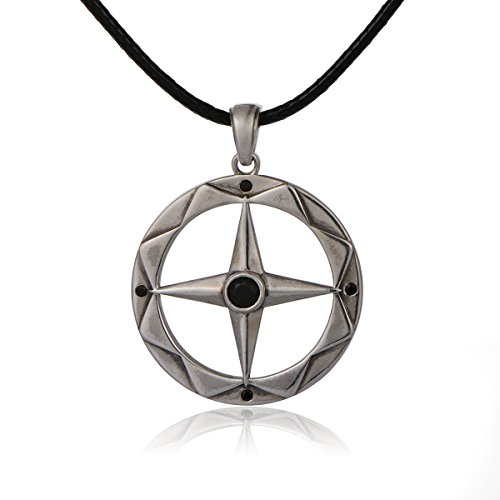 S925 Sterling Silver Oxidative Compass Cross leather Pendant Necklace
