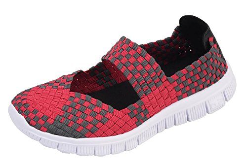 Stretch Mesh Fashion Sneakers Shoes Janes Mary Woven CAMSSOO on Women's Loafers Slip Breathable Rose Walking qwnfEYZtx