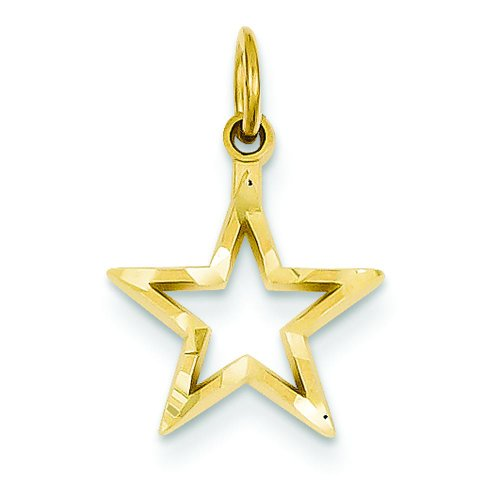 14K Yellow Gold Star Charm Pendant Jewelry FindingKing 14k Yellow Gold Star Charm